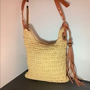 Sun N Sand small straw crossbody bag w tassel